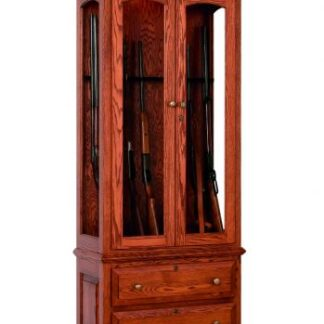 8 Gun Cabinet with Drawers - Oak