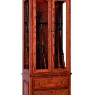 8 Gun Cabinet with Drawers - Oak