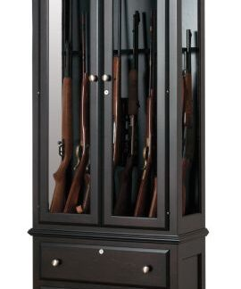 8 Gun Cabinet with Drawers - Brown Maple
