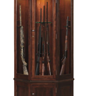 Lighted Corner Gun Cabinet - Brown Maple