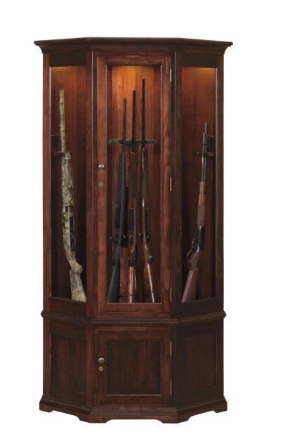 Lighted Corner Gun Cabinet - Brown Maple