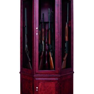 Lighted Corner Gun Cabinet - Cherry