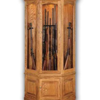 Lighted Corner Gun Cabinet - Oak