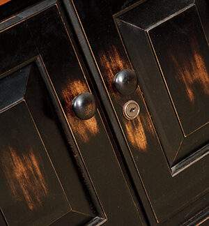 two tone distressing on cabinet doors